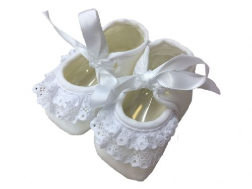 Booties with Bow and Lace Detail